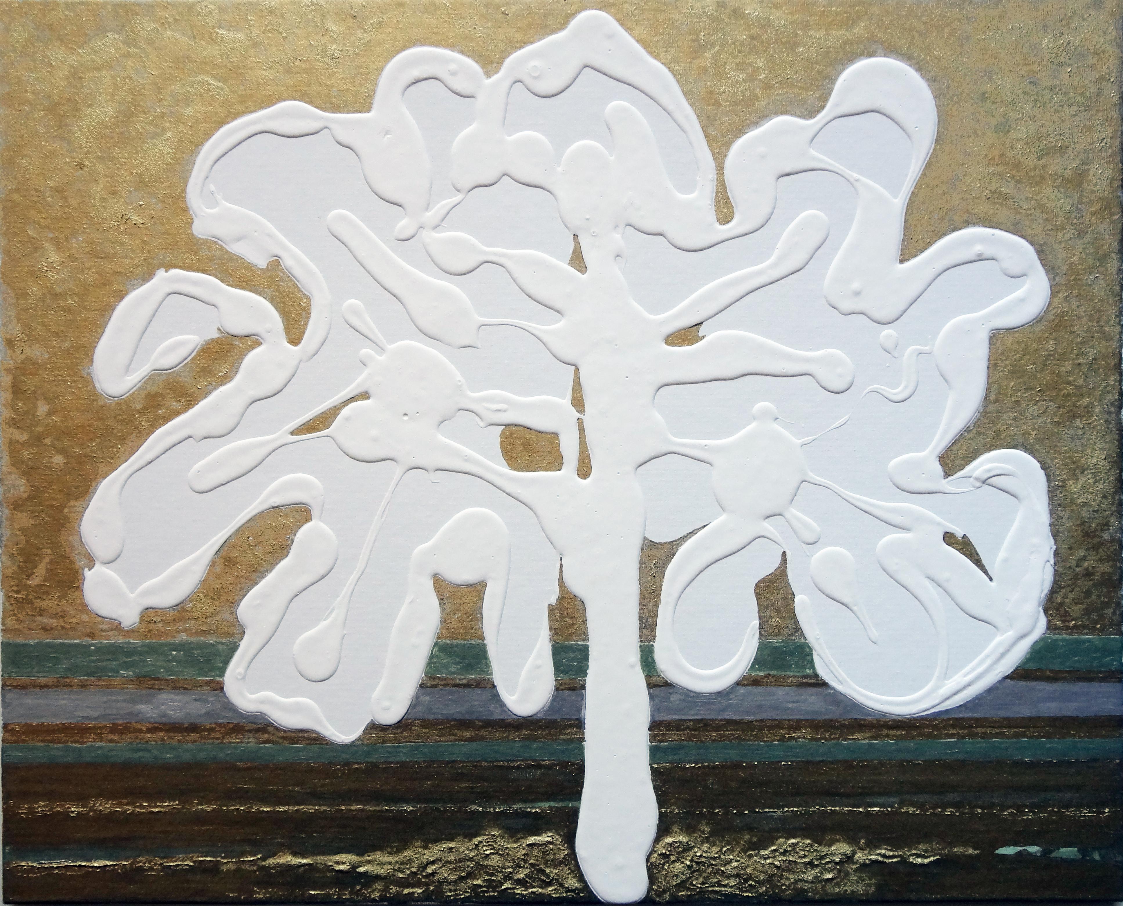 Albero materico, 2017, tecnica mista su cartone telato, 40 x 50 cm