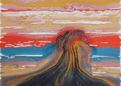 Eruzione, 2017, smalto su tela, 70x70 cm