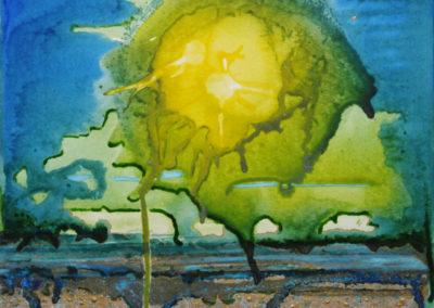 Fissione, 2015, tecnica mista su cartone telato, 40 x 40 cm
