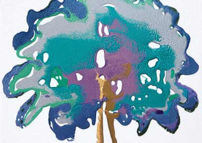 L'albero del paradiso, 2016, smalto su tela, 70 x 70 cm