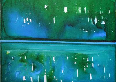 Luci riflesse, 2016, china a tinte su cartone telato, 50 x 60 cm