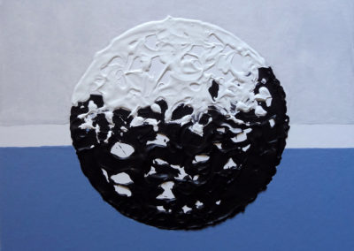 Tu misteriosa luna, 2017, acrilico su cartone telato, 40 x 40 cm